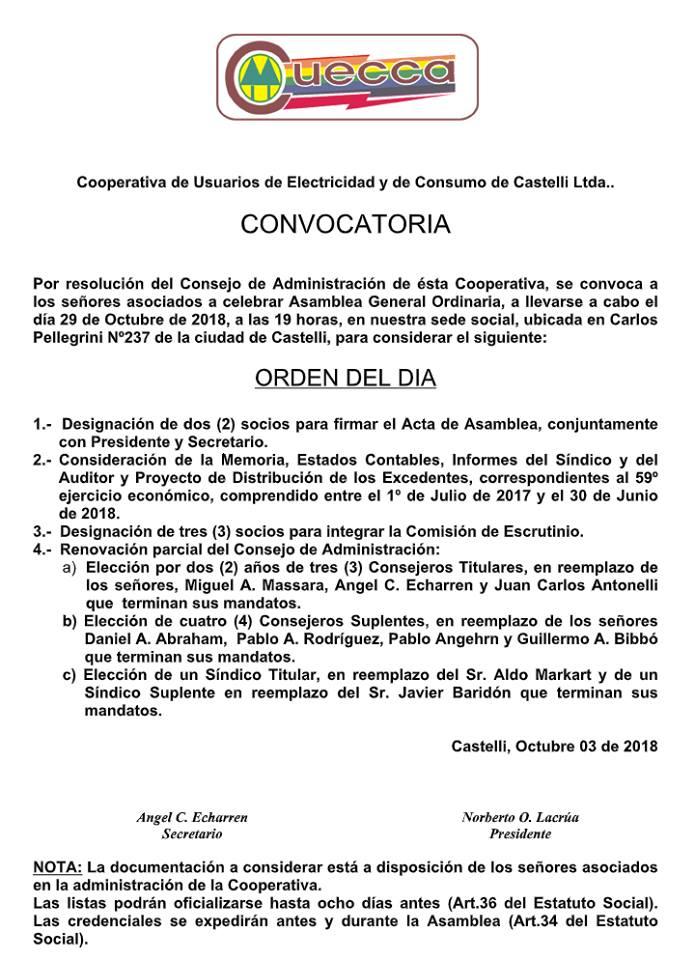 CUECCA LLAMA A CONVOCATORIA