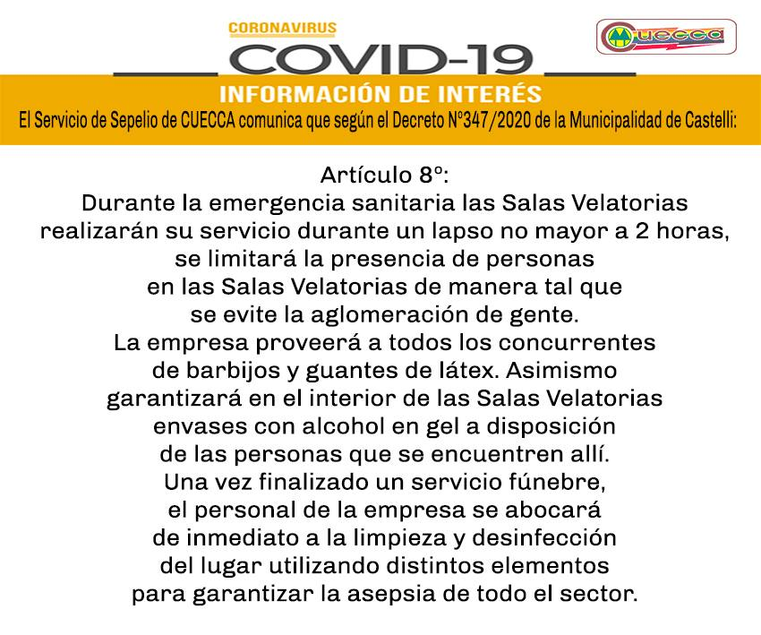 CUECCA: INFORMACIÓN DEL SERVICIO DE SEPELIO POR CORONAVIRUS